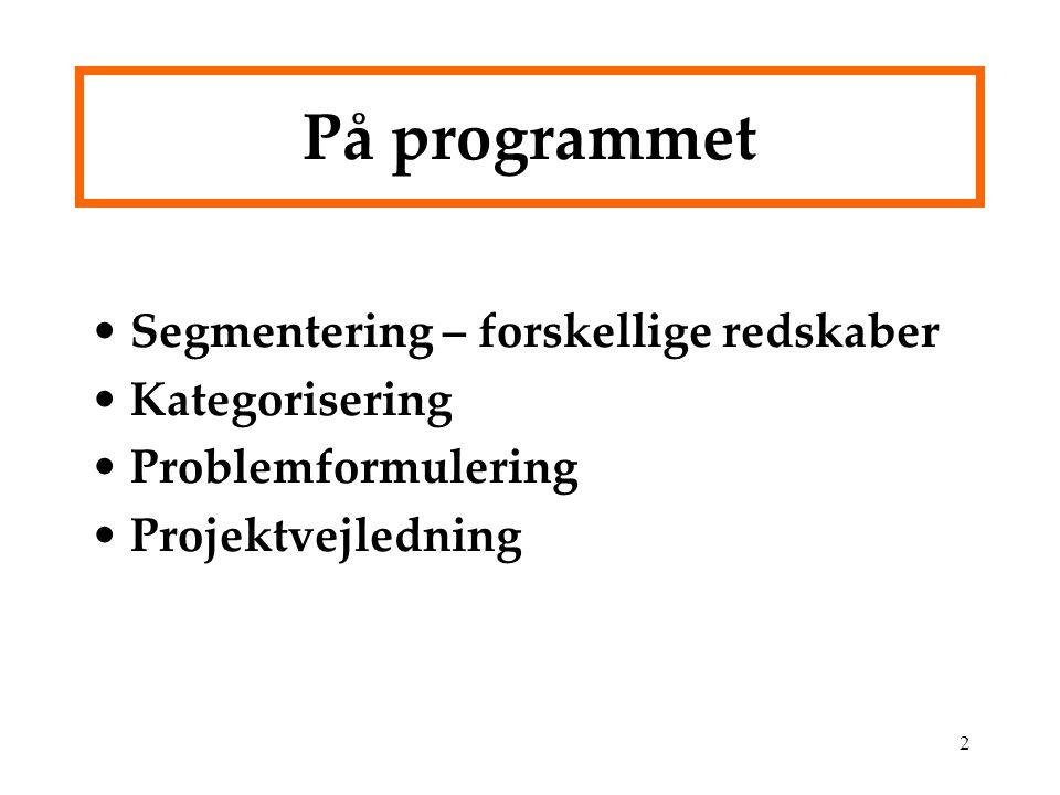 På programmet Segmentering – forskellige redskaber Kategorisering