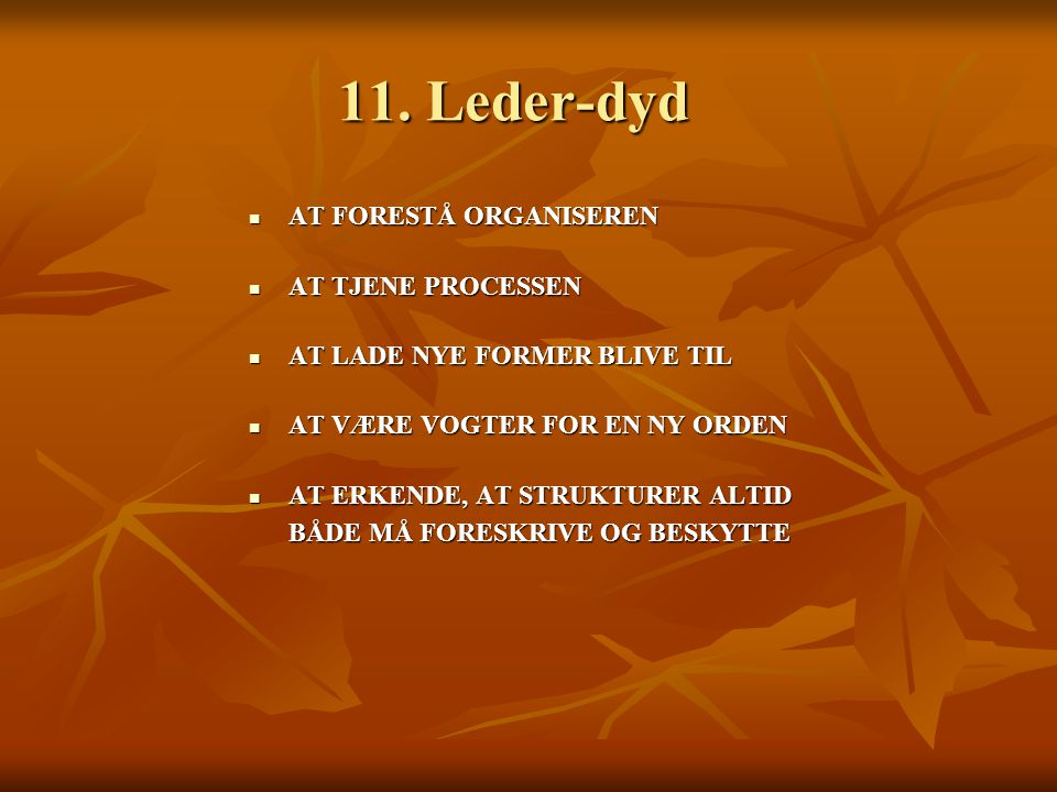 11. Leder-dyd AT FORESTÅ ORGANISEREN AT TJENE PROCESSEN