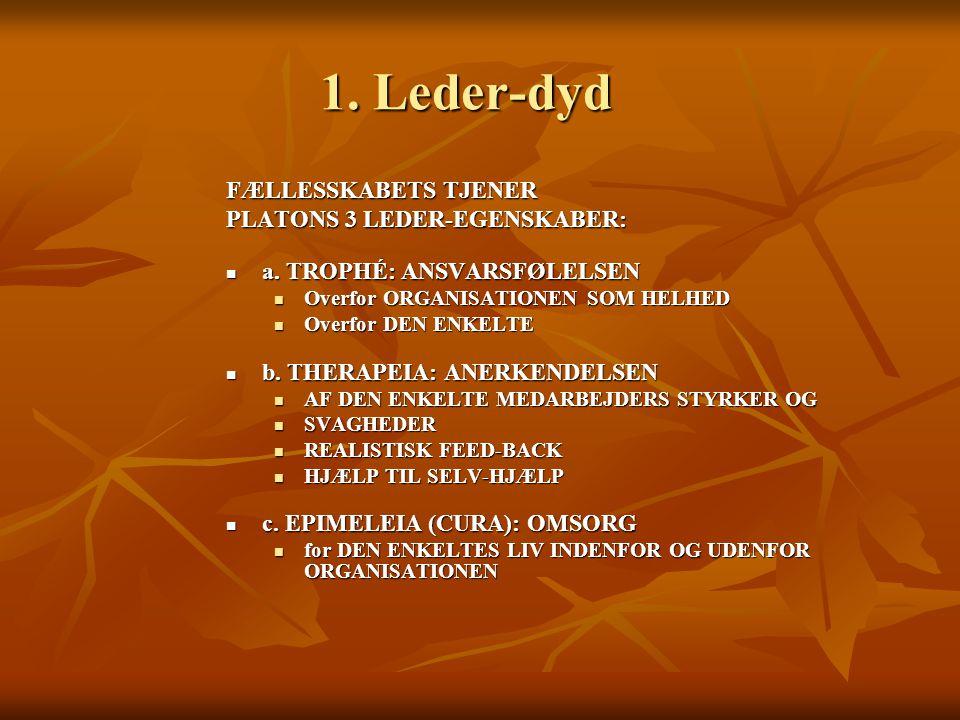 1. Leder-dyd FÆLLESSKABETS TJENER PLATONS 3 LEDER-EGENSKABER: