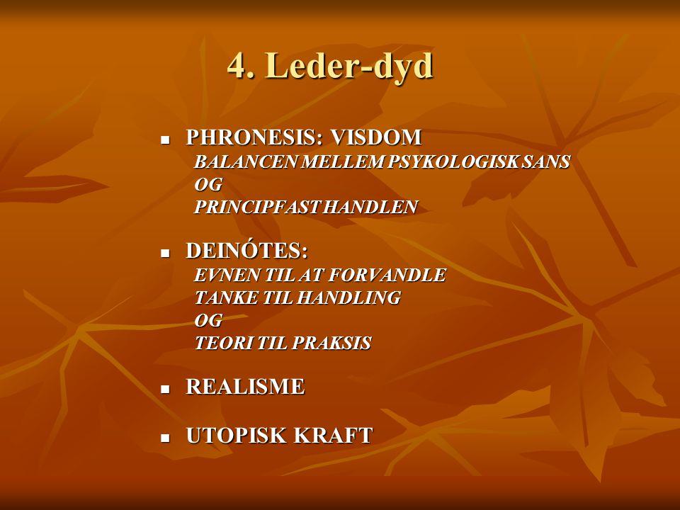 4. Leder-dyd PHRONESIS: VISDOM DEINÓTES: REALISME UTOPISK KRAFT