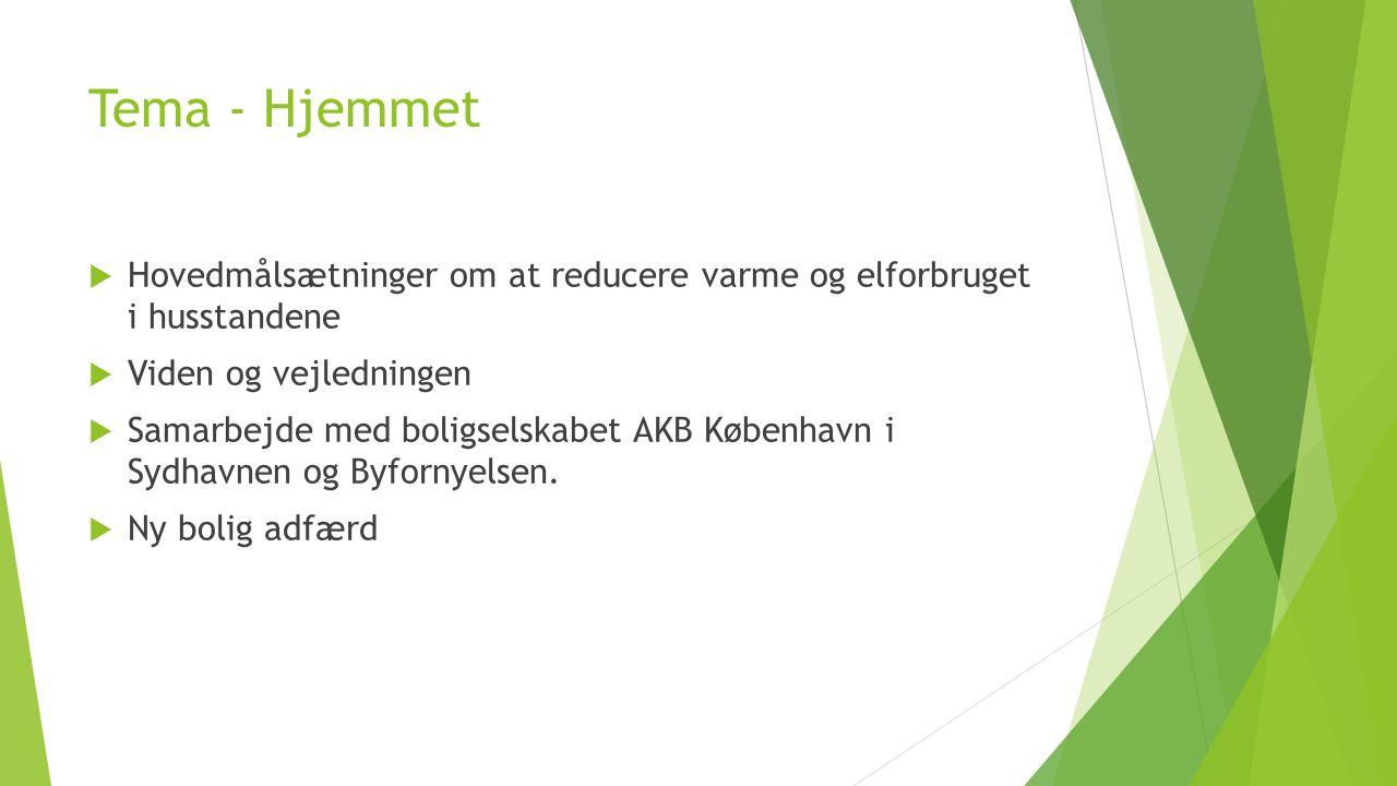 Tema - Hjemmet Hovedmålsætninger om at reducere varme og elforbruget i husstandene. Viden og vejledningen.