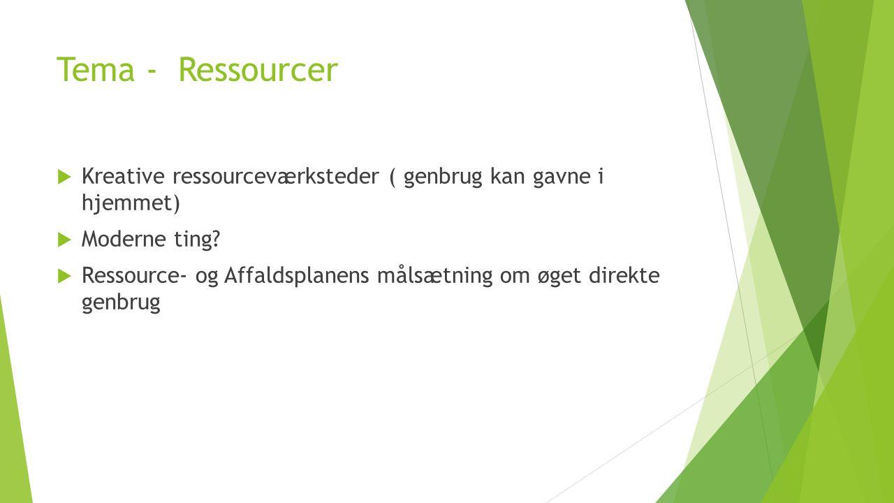 Tema - Ressourcer Kreative ressourceværksteder ( genbrug kan gavne i hjemmet) Moderne ting