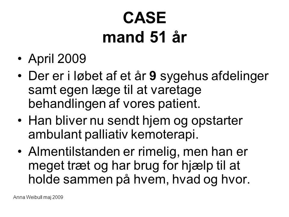 CASE mand 51 år April 2009. Der er i løbet af et år 9 sygehus afdelinger samt egen læge til at varetage behandlingen af vores patient.