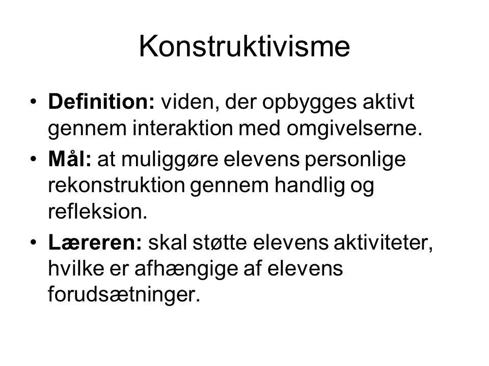 Konstruktivisme Definition: viden, der opbygges aktivt gennem interaktion med omgivelserne.