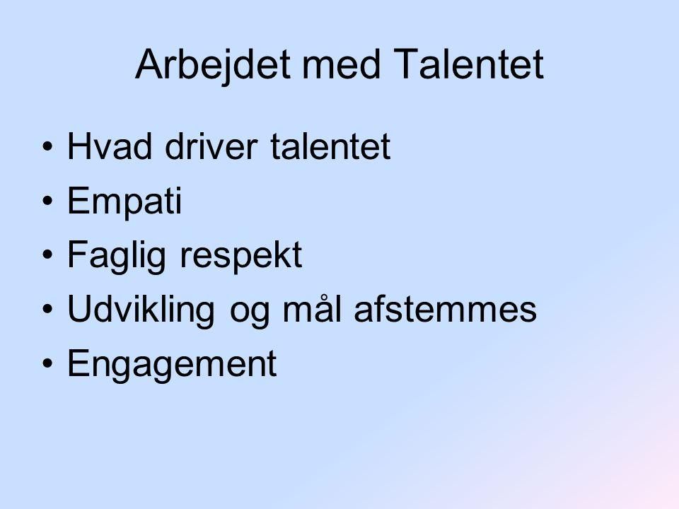 Arbejdet med Talentet Hvad driver talentet Empati Faglig respekt