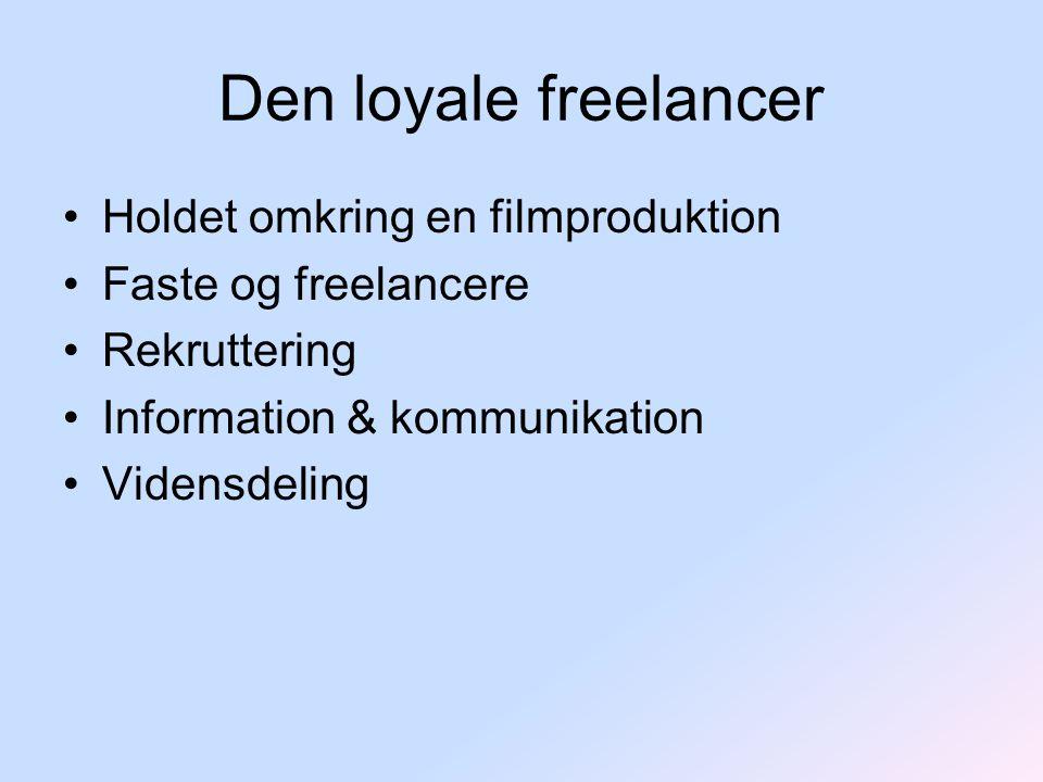 Den loyale freelancer Holdet omkring en filmproduktion