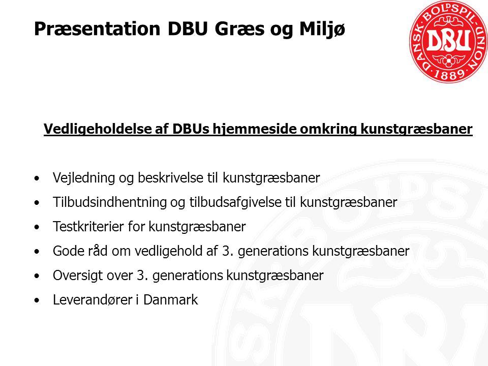 Vedligeholdelse af DBUs hjemmeside omkring kunstgræsbaner