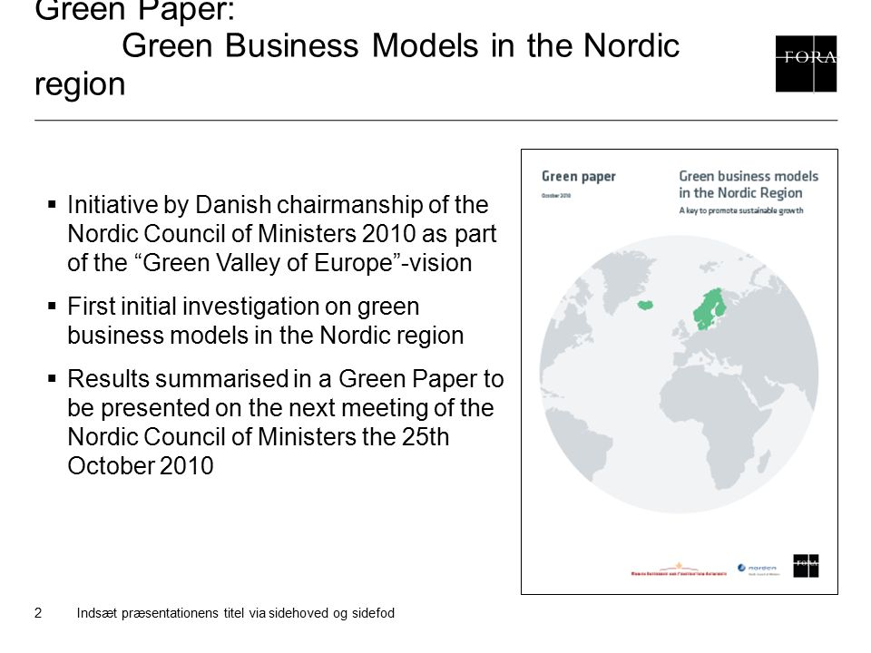 Green Paper: Green Business Models in the Nordic region