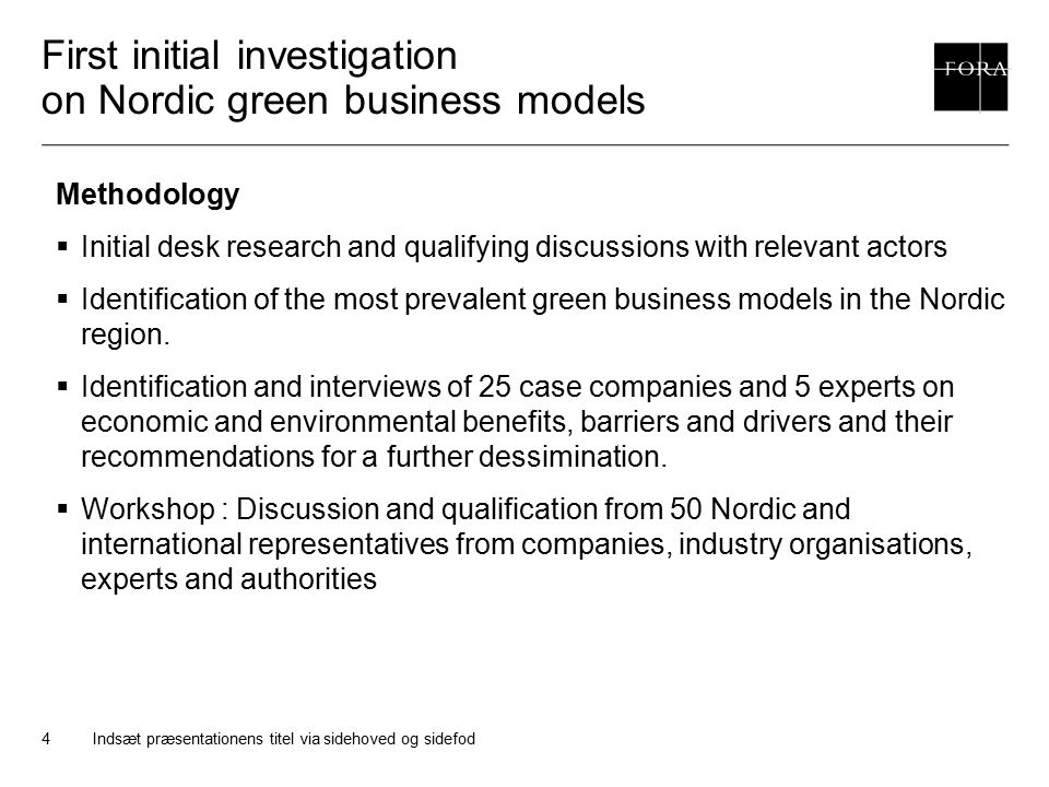 First initial investigation on Nordic green business models