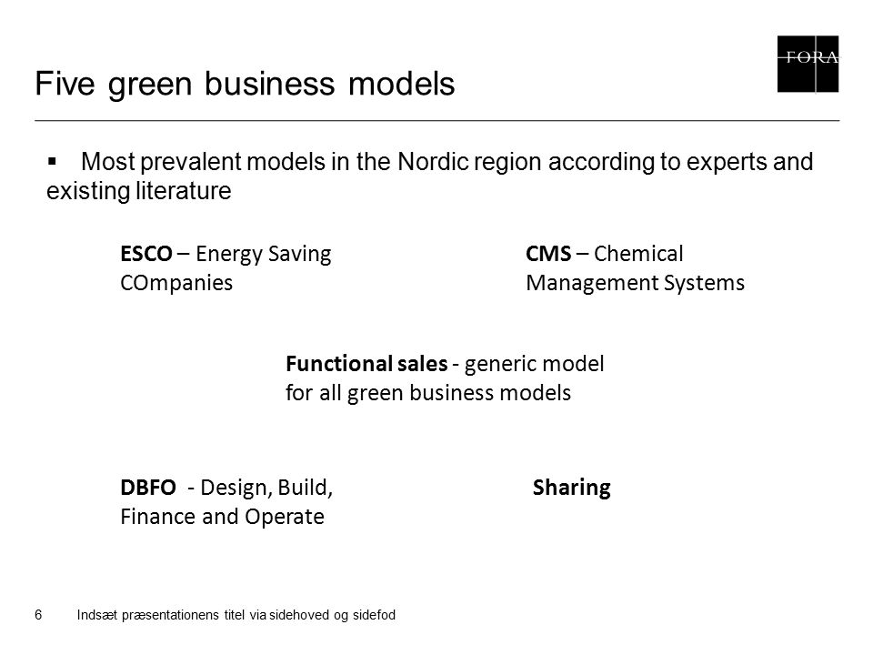 Five green business models