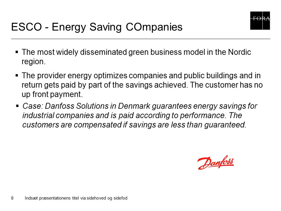 ESCO - Energy Saving COmpanies