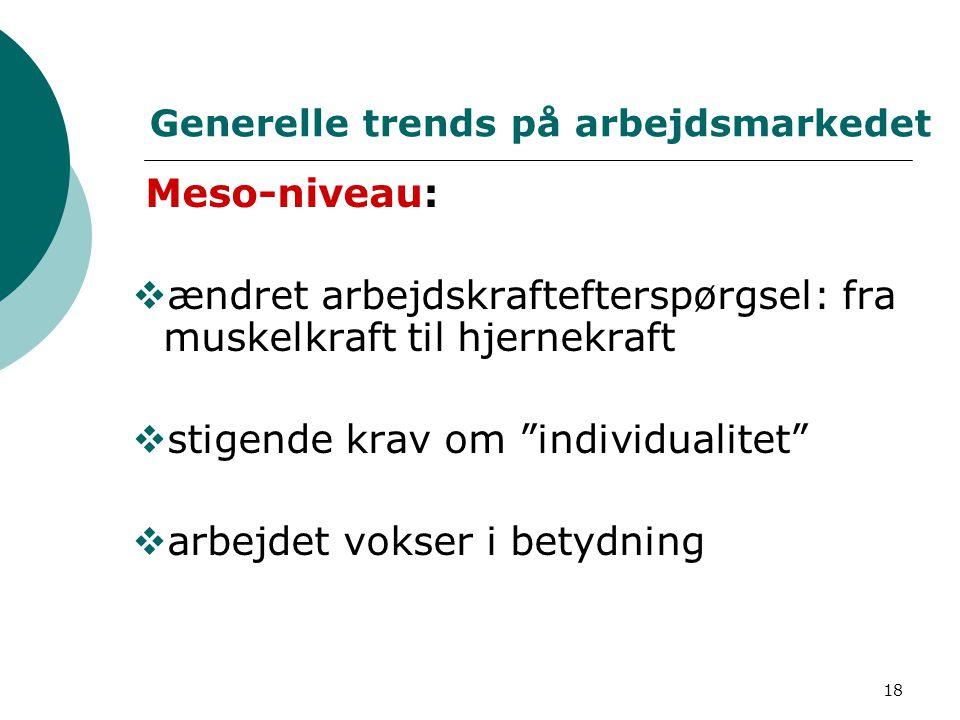 Generelle trends på arbejdsmarkedet