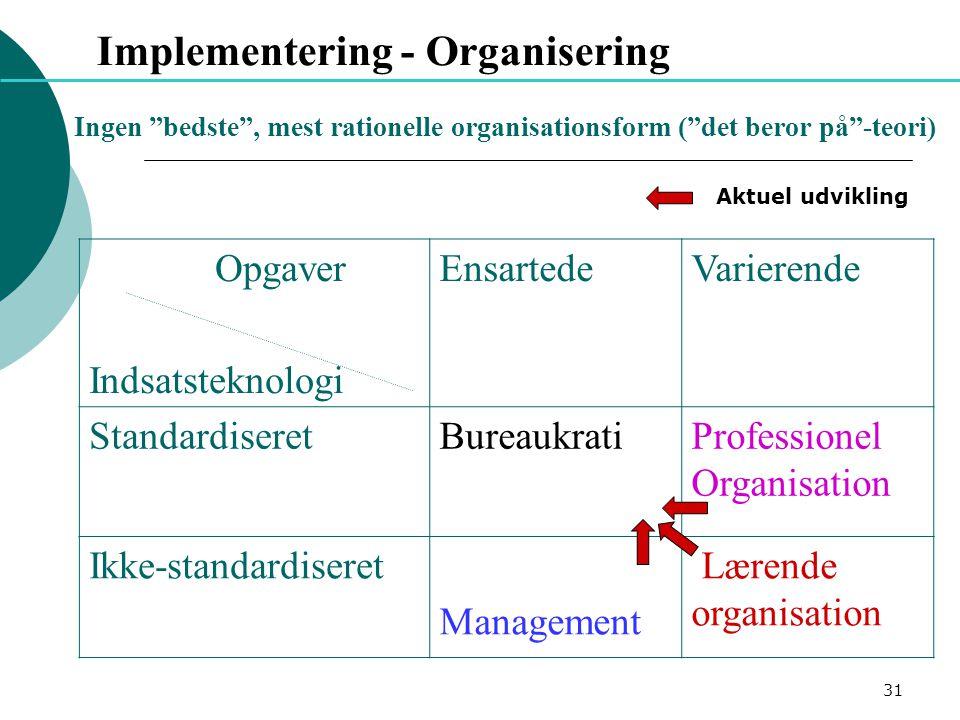Implementering - Organisering