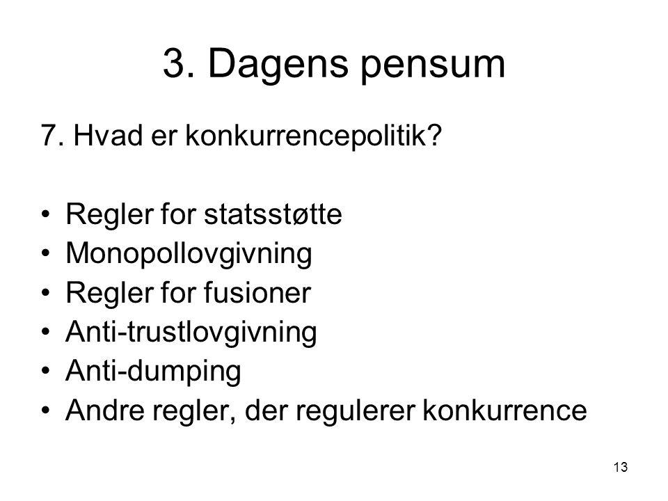3. Dagens pensum 7. Hvad er konkurrencepolitik Regler for statsstøtte