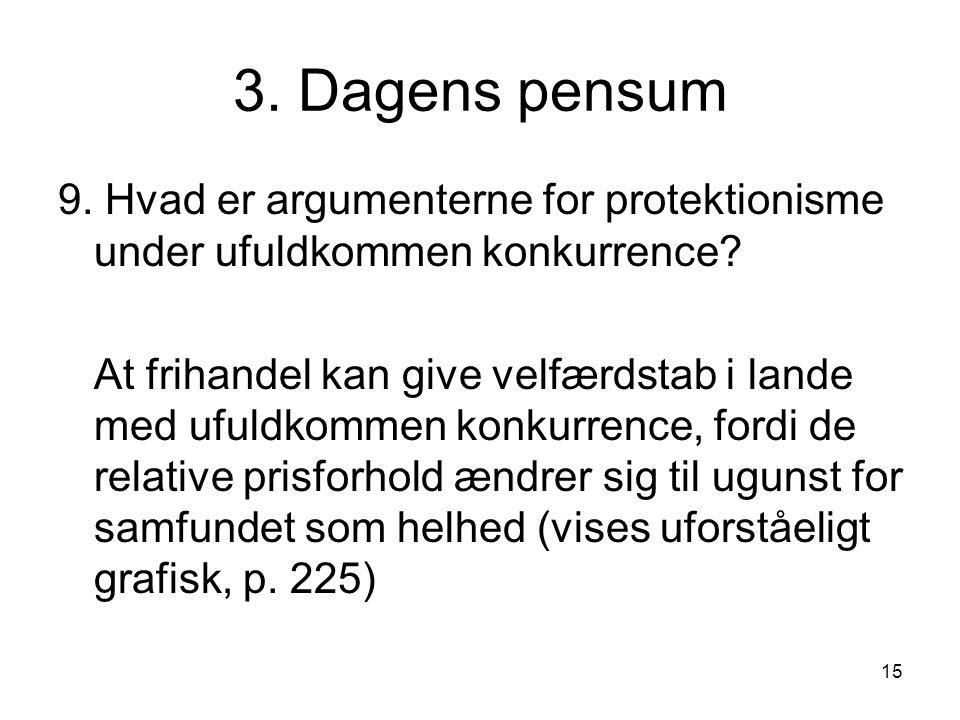 3. Dagens pensum 9. Hvad er argumenterne for protektionisme under ufuldkommen konkurrence
