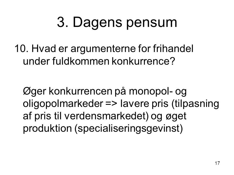 3. Dagens pensum 10. Hvad er argumenterne for frihandel under fuldkommen konkurrence