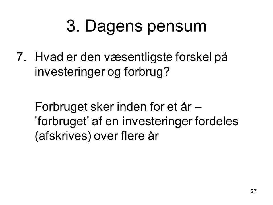 3. Dagens pensum Hvad er den væsentligste forskel på investeringer og forbrug