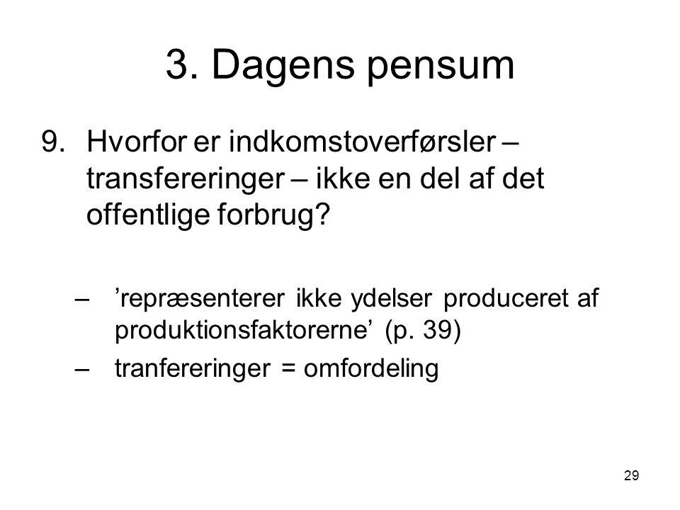 3. Dagens pensum Hvorfor er indkomstoverførsler – transfereringer – ikke en del af det offentlige forbrug