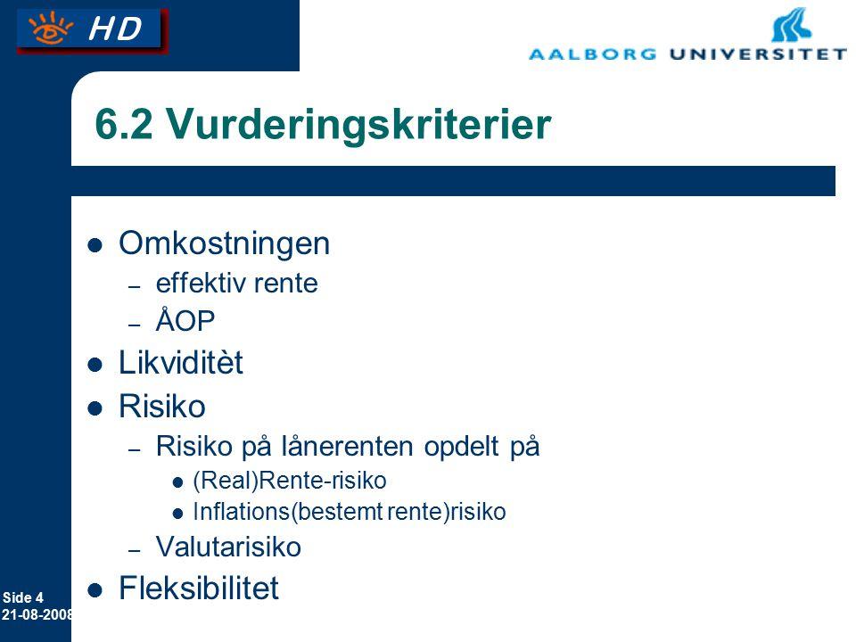 6.2 Vurderingskriterier Omkostningen Likviditèt Risiko Fleksibilitet