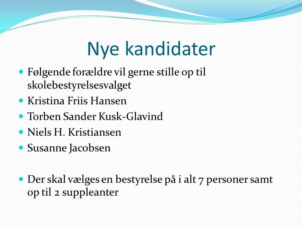 Nye kandidater Følgende forældre vil gerne stille op til skolebestyrelsesvalget. Kristina Friis Hansen.