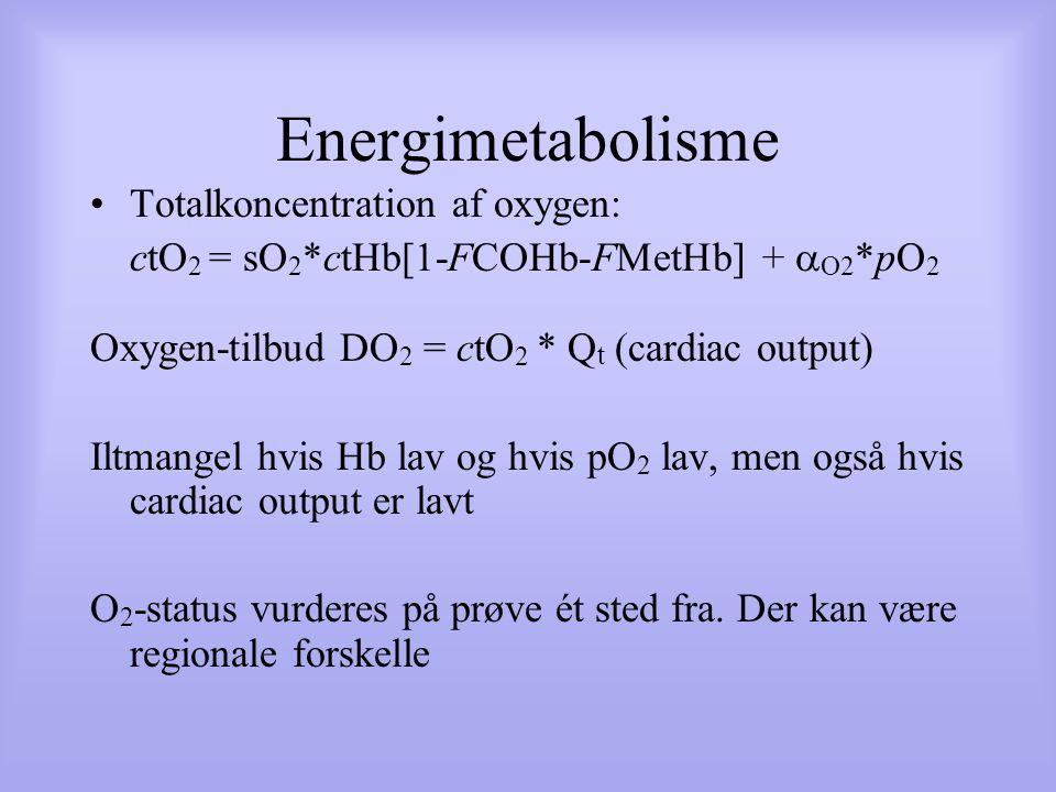 Energimetabolisme Totalkoncentration af oxygen: