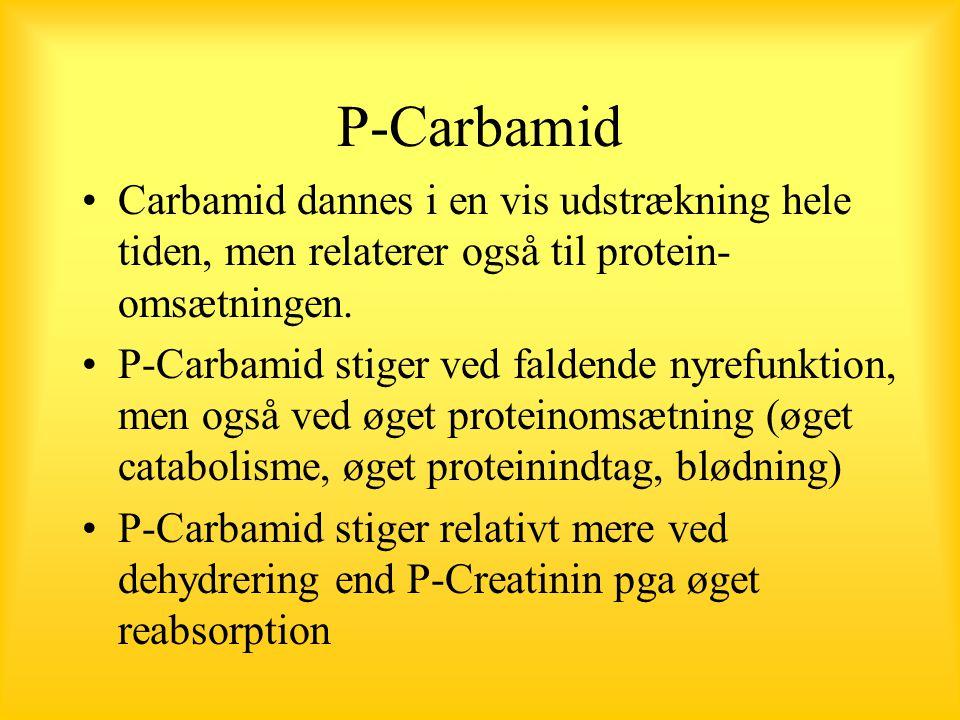 P-Carbamid Carbamid dannes i en vis udstrækning hele tiden, men relaterer også til protein-omsætningen.