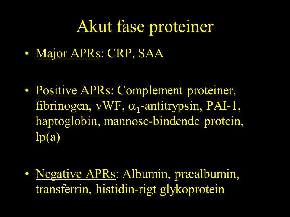 Akut fase proteiner Major APRs: CRP, SAA