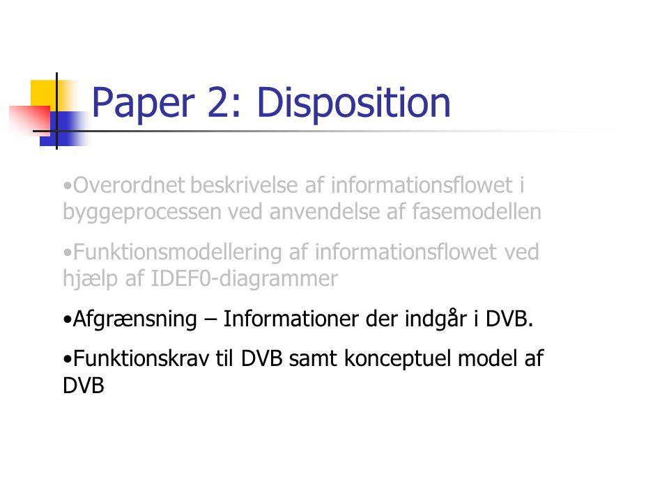 Paper 2: Disposition Overordnet beskrivelse af informationsflowet i byggeprocessen ved anvendelse af fasemodellen.