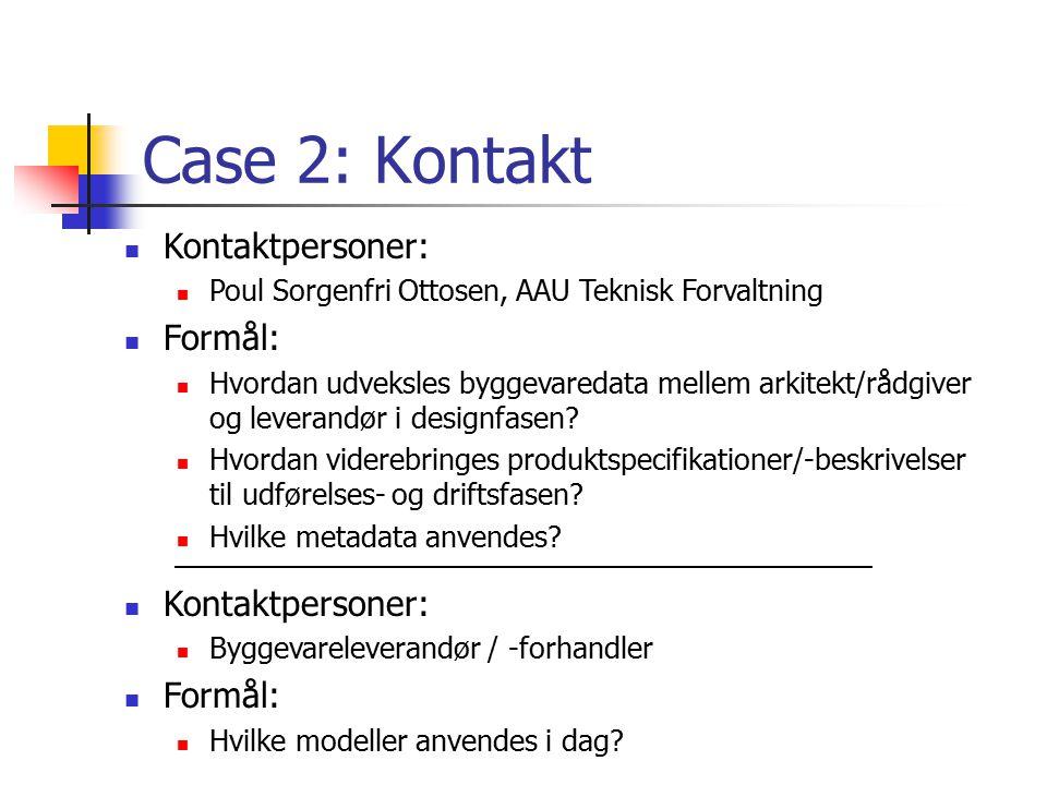 Case 2: Kontakt Kontaktpersoner: Formål: Kontaktpersoner: Formål: