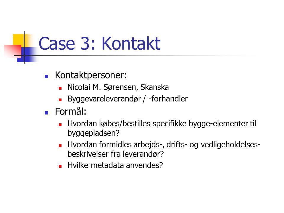 Case 3: Kontakt Kontaktpersoner: Formål: Nicolai M. Sørensen, Skanska