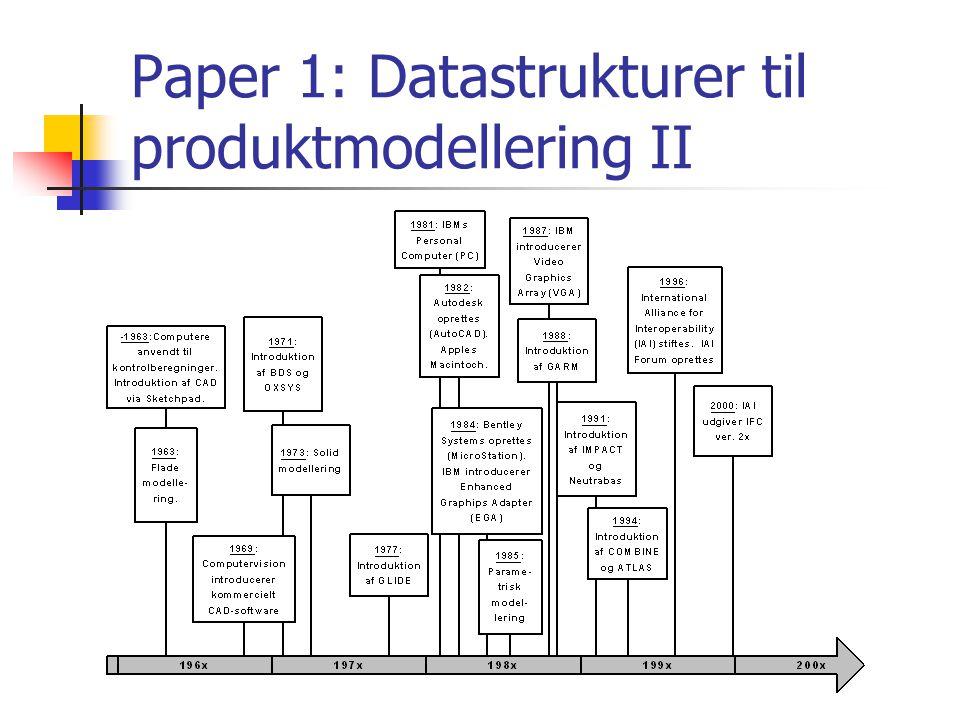 Paper 1: Datastrukturer til produktmodellering II