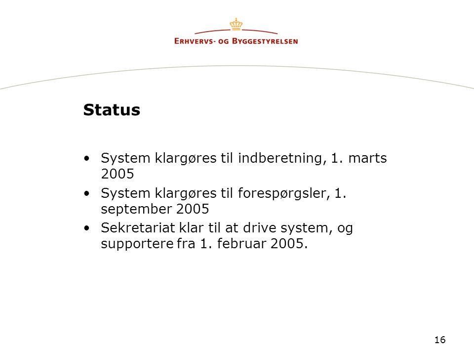 Status System klargøres til indberetning, 1. marts 2005