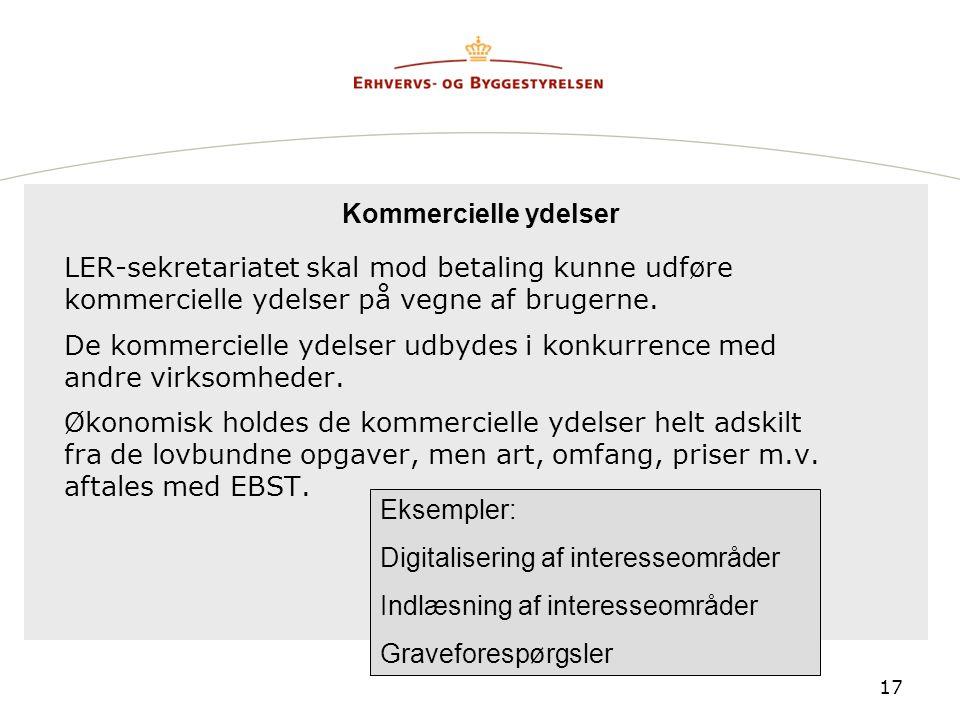 Kommercielle ydelser LER-sekretariatet skal mod betaling kunne udføre kommercielle ydelser på vegne af brugerne.