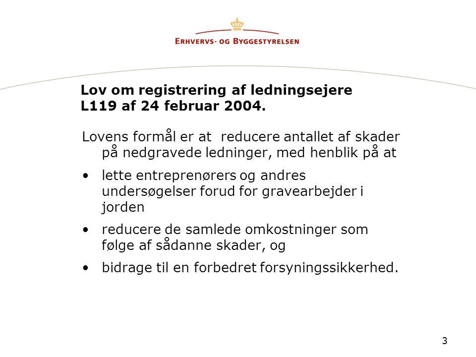 Lov om registrering af ledningsejere L119 af 24 februar 2004.