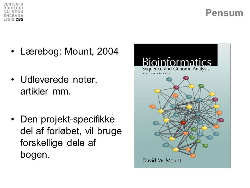 Pensum Lærebog: Mount, 2004. Udleverede noter, artikler mm.