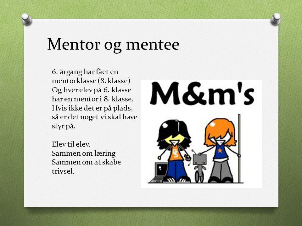 Mentor og mentee 6. årgang har fået en mentorklasse (8. klasse)