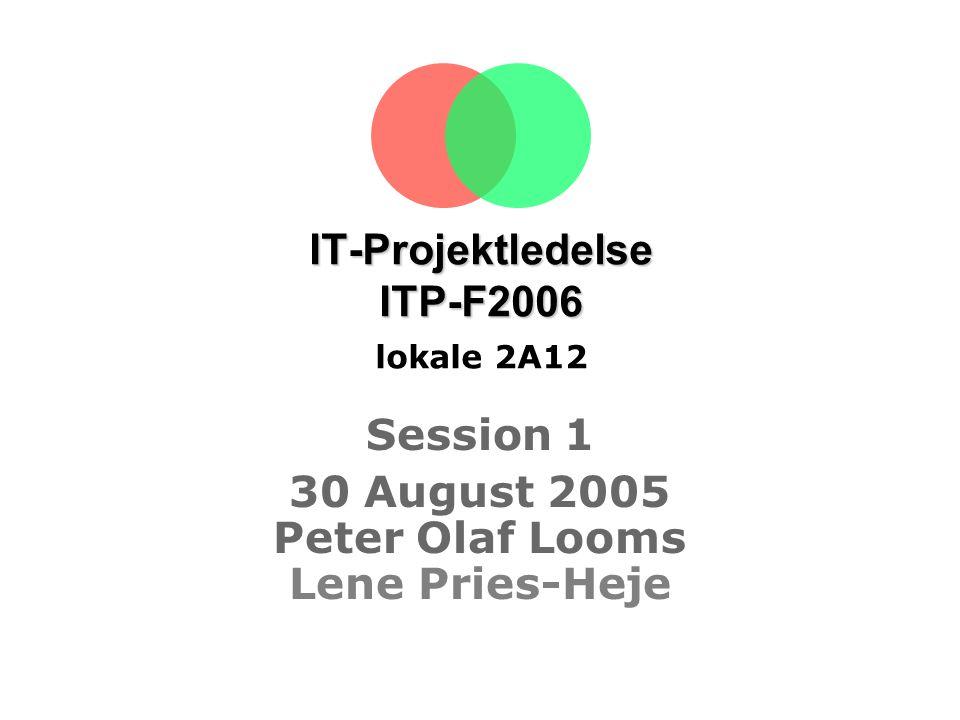 IT-Projektledelse ITP-F2006 lokale 2A12