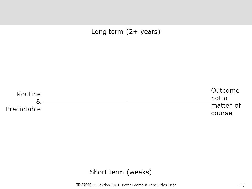 Short term (weeks) Long term (2+ years) Routine & Predictable Outcome not a matter of course