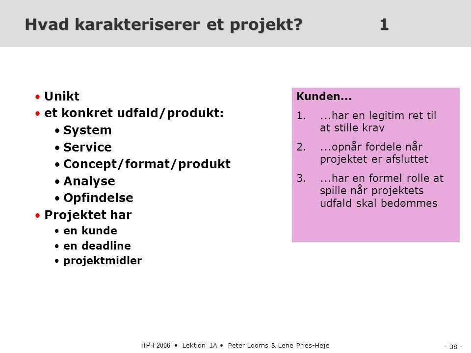 Hvad karakteriserer et projekt 1