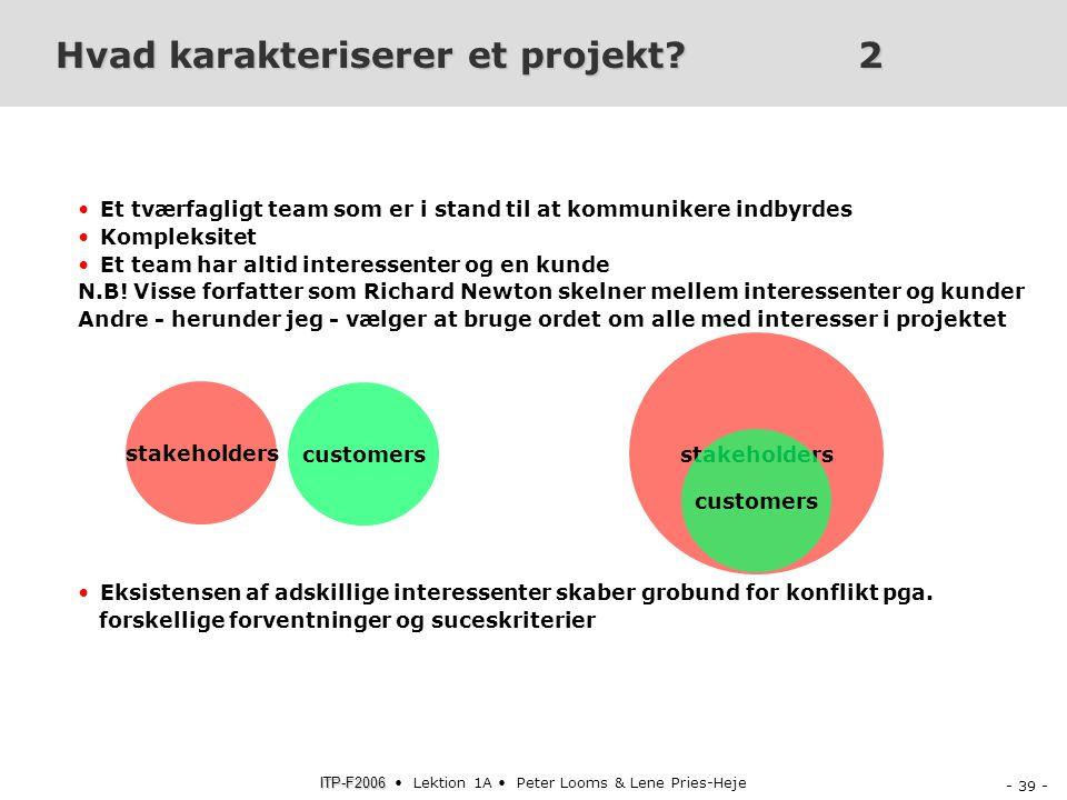 Hvad karakteriserer et projekt 2