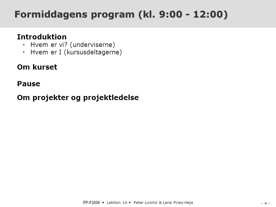 Formiddagens program (kl. 9:00 - 12:00)
