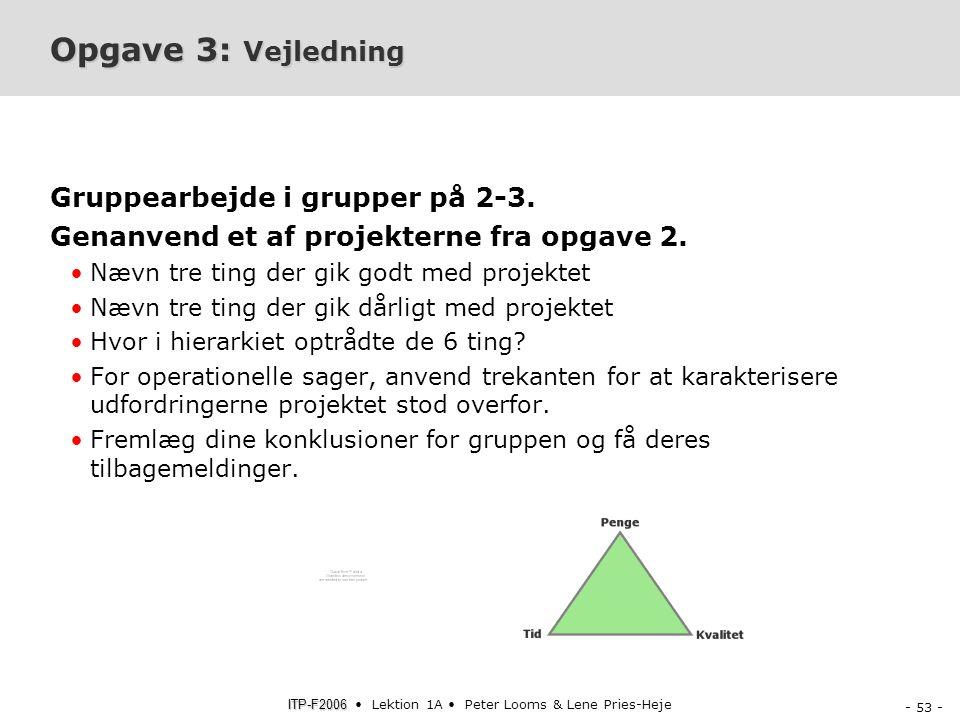 Opgave 3: Vejledning Gruppearbejde i grupper på 2-3.