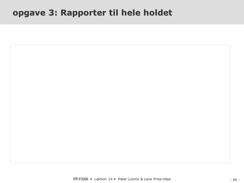 opgave 3: Rapporter til hele holdet