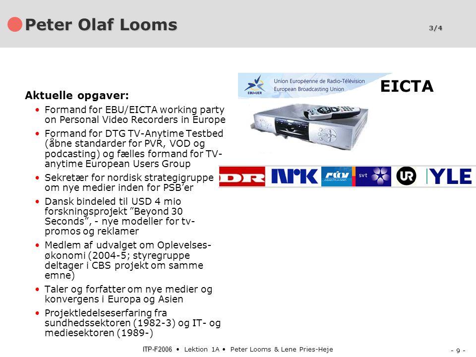 Peter Olaf Looms 3/4 EICTA Aktuelle opgaver: