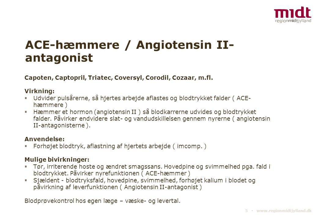 ACE-hæmmere / Angiotensin II-antagonist