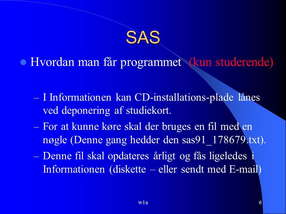 SAS Hvordan man får programmet (kun studerende)