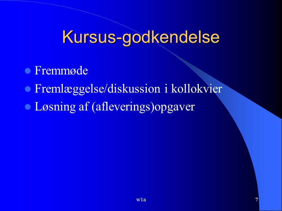 Kursus-godkendelse Fremmøde Fremlæggelse/diskussion i kollokvier