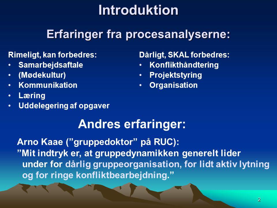 Introduktion Erfaringer fra procesanalyserne: