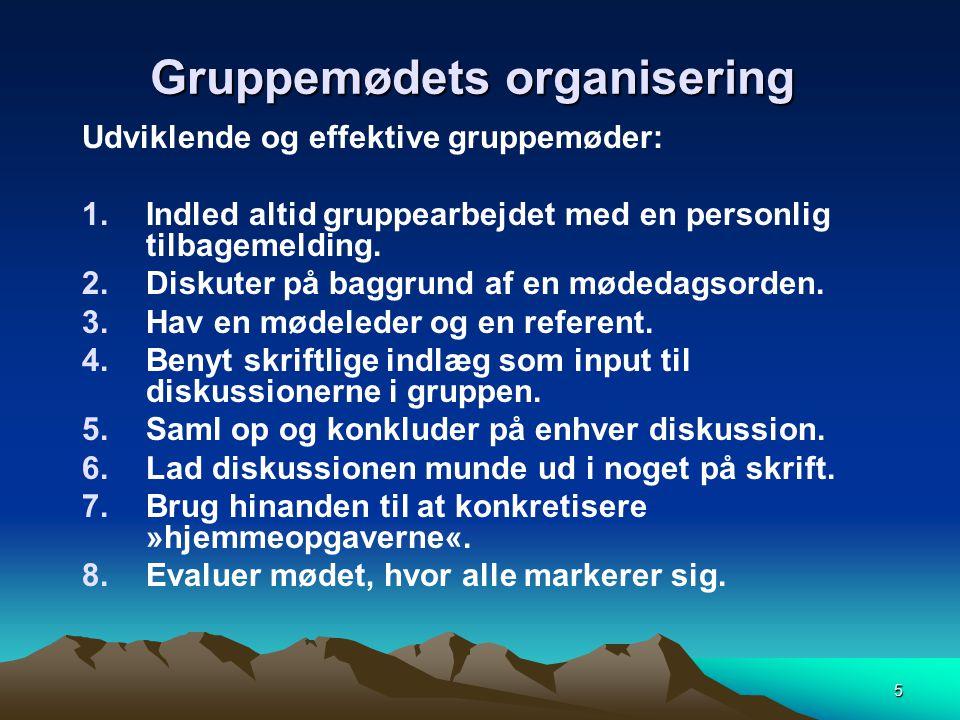 Gruppemødets organisering