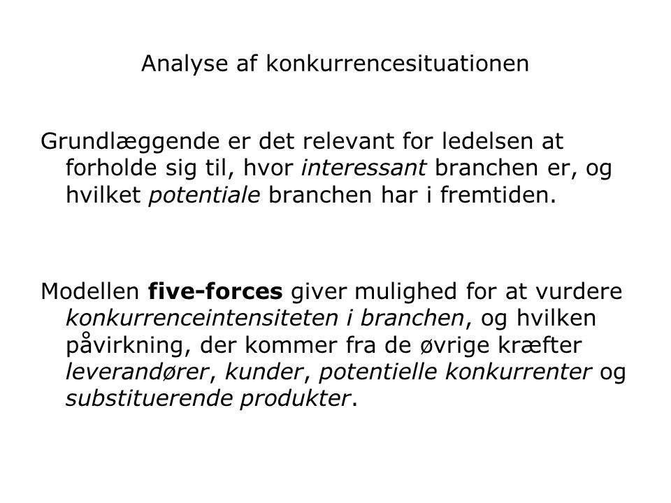 Analyse af konkurrencesituationen